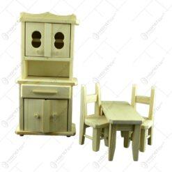 Set mobilier de bucatarie 4 piese realizate din lemn - Naturala