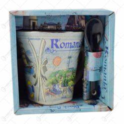 Cana cu lingurita realizate din ceramica - Design Monumente Istorice Din Romania - Diferite modele (Tip 1)