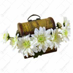Cufar decorativ cu aranjament de flori artificiale - 2 modele