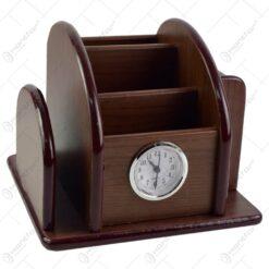 Suport pentru birou realizat din lemn cu ceas