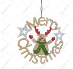 "Decor pentru geam in forma rotunda cu litere realizat din lemn - Design ""Merry Christmas"" cu ren"