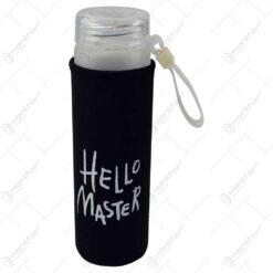 """Sticla pentru apa cu husa termoizolanta- Design cu mesajul """"Hello Master"""" - Diverse culori"""