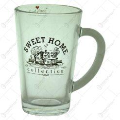 "Cana realizata din sticla - Design inscriptionat ""Sweet Home"" (Model 2)"