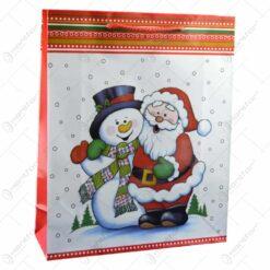 Punga pentru cadou decorata cu om de zapada si mos craciun - Design craciun - Mare