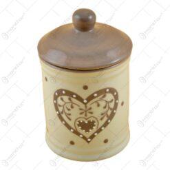 Recipient condimente realizat din ceramica - 14 cm - Crem