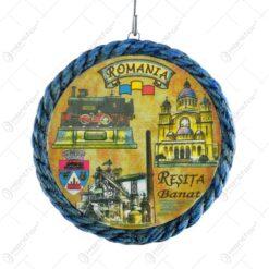 Farfurie din gips cu margine ornamentata. cu grafica in mijloc - Dracula Romania - Mica