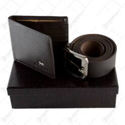Curea si portofel din piele in cutie eleganta - Diferite culori (Model 2)