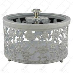 Cutie rotunda pentru bijuterii - Design vintage cu flori