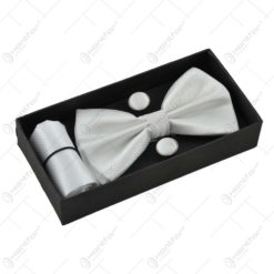 Set cadou pentru barbati - Papion. batista si butoni manseta - Design Elegant - Diferite culori