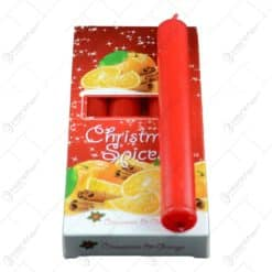 Lumanare parfumata realizata in forma cilindrica - Aroma de portocaliu si scortisora - Rosu