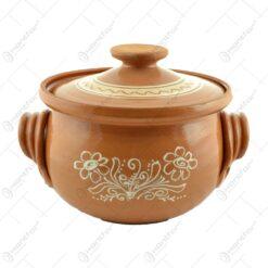 Oala de sarmale din ceramica decorat cu motive traditionale 4 L