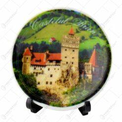 Farfurie decorativa realizata din ceramica cu suport din lemn - Design Romania-Castelul Bran - Diverse modele