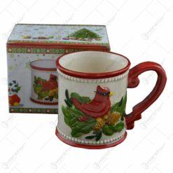 Cana Craciun din ceramica cu design pasare si con