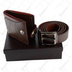 Curea si portofel din piele sintetica in cutie eleganta
