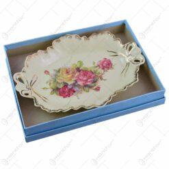 Platou realizat din ceramica cu marginile poleite - Design Trandafiri (30cm)