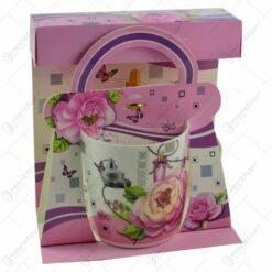 Cana realizata din ceramica in cutie - Design cu trandafiri - Diverse modele (Model 2)