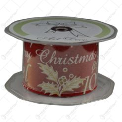 Panglica realizata din material textil - Merry Christmas - Rosu (50MM X 10m)