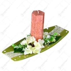 Platou decorativ cu lumanare si flori - 2 modele