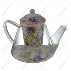 Ceainic realizat din sticla cu infuzor de ceramica - Design Floral (Model 3)