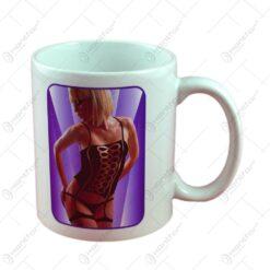 Cana Mug Strip cu imagine de femeie termica in cutie decorativa