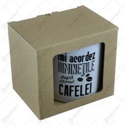 """Cana din ceramica in cutie decorativa - """"Imi acordez diminetile dupa ritmul cafelei"""""""