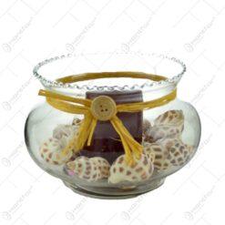 Lumanare in bol decorat cu scoici si fundita - Diverse modele