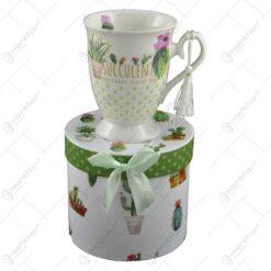 Cana realizata din ceramica in cutie cadou - Design cu cactus