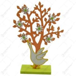 Decoratiune pentru primavara realizata din lemn - Gasca si copac - Diverse modele