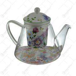 Ceainic realizat din sticla cu infuzor de ceramica - Design Floral (Model 1)