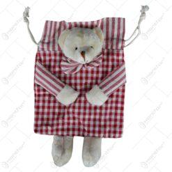 Saculet pentru cadou realizat din material textil - Design cu ursulet - Diverse modele
