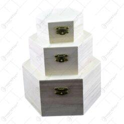 Set 3 cutii hexagonale realizate din lemn