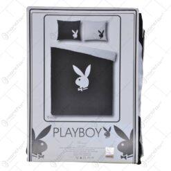 Lenjerie de pat pentru 2 persoane - Design Playboy - Negru-Alb
