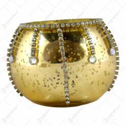 Candela din sticla si decorata cu cristale fatetate - Design Elegant - Auriu (8 CM)