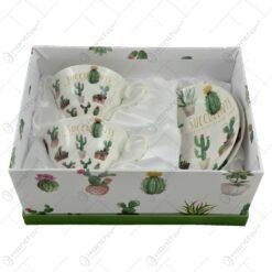 Set 2 cesti cu farfurii realizate din ceramica - Design Cactus