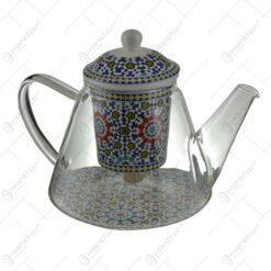 Ceainic realizat din sticla cu infuzor de ceramica - Design Floral (Model 4)