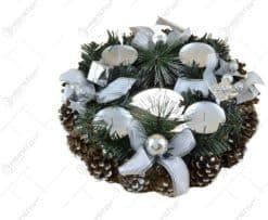 Coroana de Advent din conuri de brad cu 4 lumanari - Argintiu