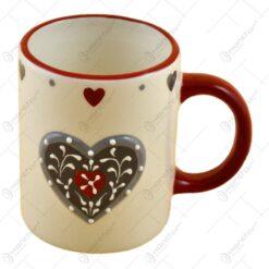 Cana realizata din ceramica - Design Inimioare (Tip 1)