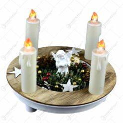 Ornament pentru masa de craciun - Suport rotund cu inger de ceramica si 4 lumanari led albe