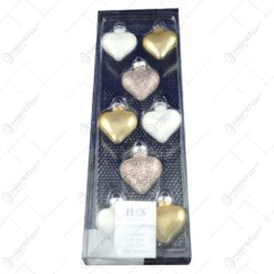 Set 8 globuri realizate din plastic in forma de inima pentru brad de craciun - Diferite culori