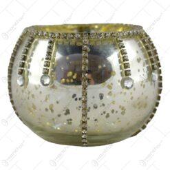 Candela din sticla si decorata cu cristale fatetate - Design Elegant - Argintiu-Auriu