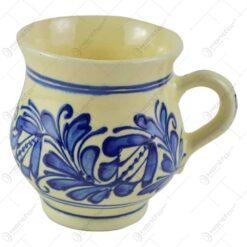 Cana pentru cappucino din ceramica de Corund pictat cu motive traditionale in diferite culori