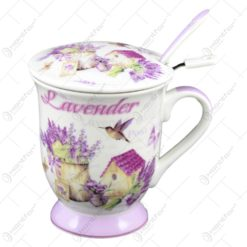 Cana tip ceainic realizata din ceramica cu lingurita si infuzor - Lavanda Casuta (Model 1)