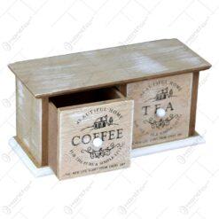 Cutie realizata din lemn cu 2 sertare