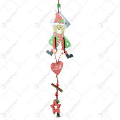 """Decoratiune de Craciun pentru usa realizata din lemn si panglica - Design Ursulet """"Merry Christmas"""""""