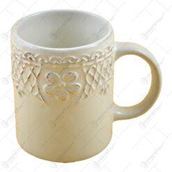 Cana realizata din ceramica - Design Vintage - Alb