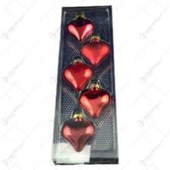Set 5 globuri realizate din plastic in forma de inima pentru brad de craciun - Diferite modele (Rosu)