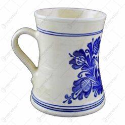 Cana ceramica de Corund pentru bere pictat cu motive populare - Mijlociu