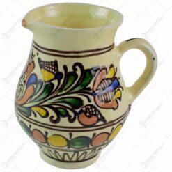 Carafa (Canceu) pentru lapte din ceramica de Corund pictat cu motive populare