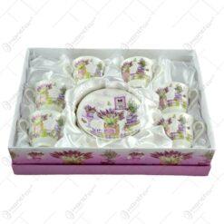 Set 6 cani cu farfurie realizate din ceramica in cutie cadou - Lavanda Gift