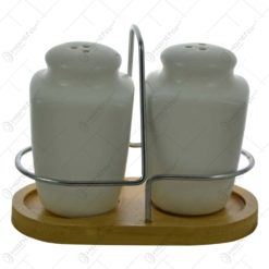 Solnita realizata din ceramica alba pe suport de bambus si inox